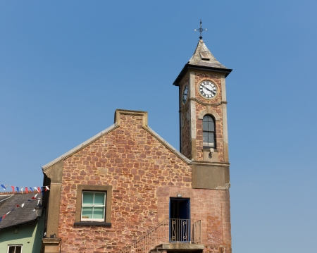 hamlet: Clock tower at Kingsand Cornwall England United Kingdom