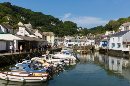 Boats in harbour Polperro Cornwall England UK