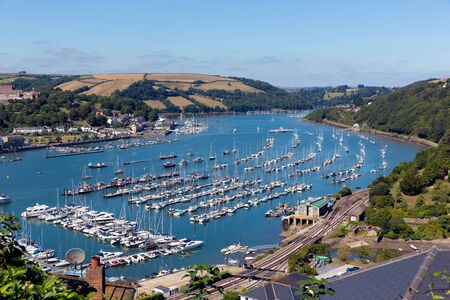 pleasure craft: View of Dartmouth Devon and boats on Dart River from Kingswear