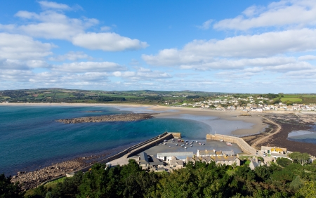 mount saint michael: View from St Michaels Mount Cornwall of the harbour, causeway and Marazion Stock Photo
