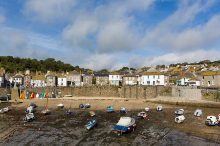 mousehole: English harbour in Cornwall at Mousehole  Stock Photo