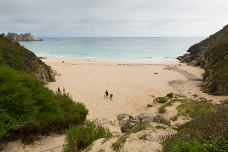 porthcurno: Porthcurno beach Cornwall England UK by the Minack Theatre