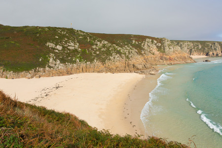 Autumn at Porthcurno beach Cornwall England UK by the Minack Theatre Stock Photo