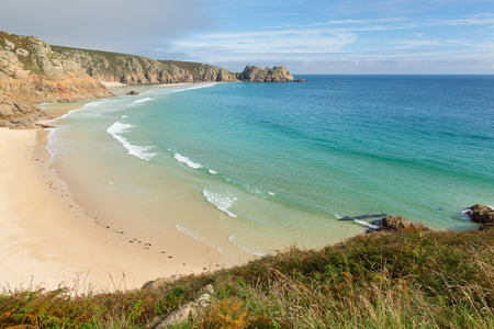 porthcurno: Autumn at Porthcurno beach Cornwall England UK by the Minack Theatre Stock Photo