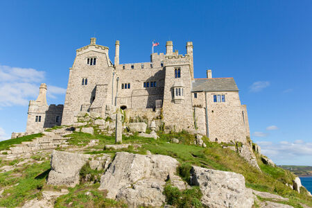 St Michaels Mount Marazion Cornwall England UK medieval castle and church on an island in Mounts Bay