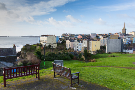 tenby wales: View of Tenby town Pembrokeshire Wales with Caldey island in background