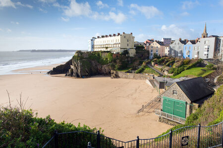 tenby wales: Beach next to St catherines island Tenby Wales UK Stock Photo