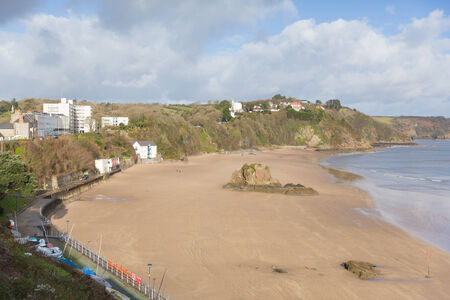 tenby wales: Tenby beach Wales historic Welsh town on west side of Carmarthen Bay with great beaches and history