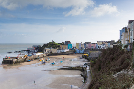tenby wales: Tenby town and harbour Pembrokeshire Wales historic Welsh town on west side of Carmarthen Bay with great beaches and history Stock Photo