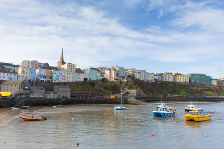 tenby wales: Welsh harbour of Tenby Pembrokeshire Wales historic Welsh town on west side of Carmarthen Bay with great beaches and history
