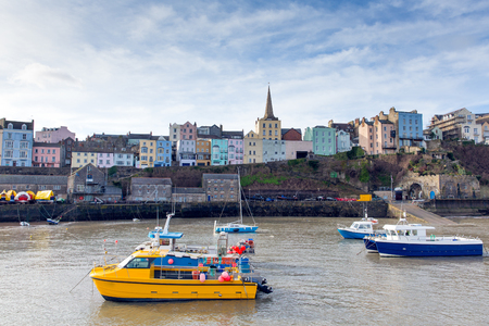 tenby wales: Harbour of Tenby Pembrokeshire Wales historic Welsh town on west side of Carmarthen Bay with great beaches and history