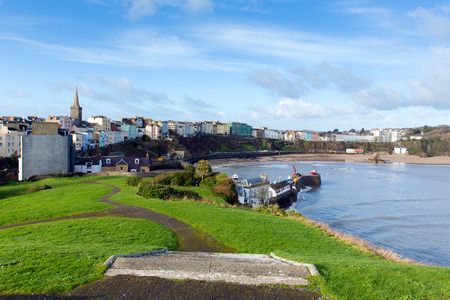 tenby wales: View of Tenby town and harbour Pembrokeshire Wales historic Welsh town on west side of Carmarthen Bay with great beaches and history Stock Photo