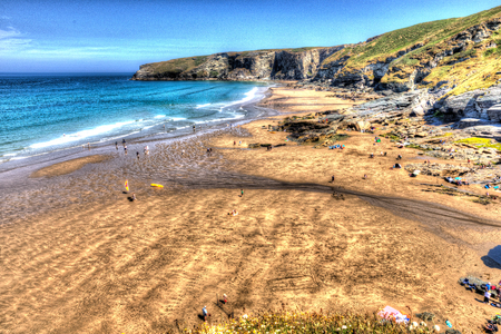 hdri: Trebarwith Strand beach Cornwall near Tintagel England UK in brilliant HDR colour