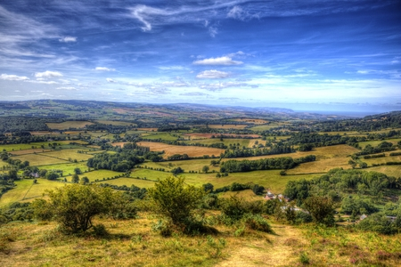 View from Quantock Hills Somerset in colourful HDR towards Bristol Channel
