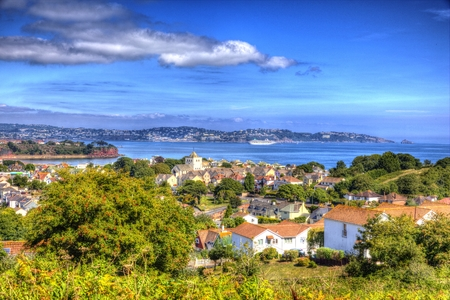 View of british holiday coastal resort of Torquay Devon England on the English coast in vivid vibrant and colourful HDR