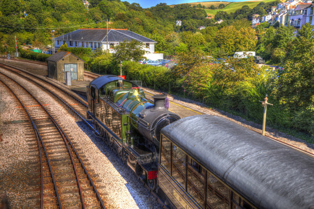 Steam Train and carriages in station in HDR