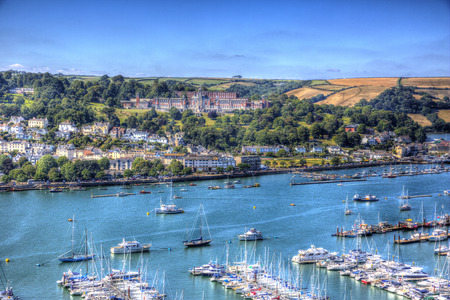 View of Dartmouth Naval College Devon and houses on the hillside like a painting in HDR