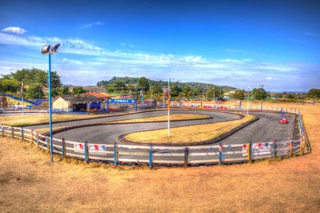 warren: Go kart track in Dawlish warren in colourful HDR