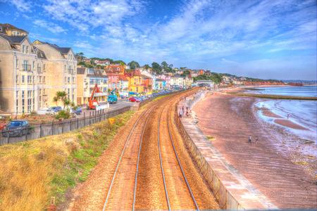 ダウリッシュ デヴォン イングランド ビーチ線路と青空 HDR で夏の日の海 写真素材