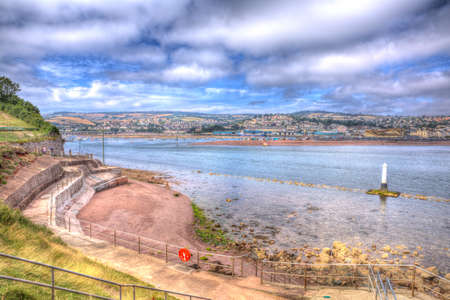 seafront: View from Shaldon to Teignmouth Devon England UK in HDR with rocks and clear sea Stock Photo