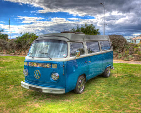Blue retro Volkswagon VW campervan