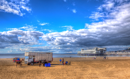 steep holm: Weston-super-Mare beach Somerset England UK in HDR