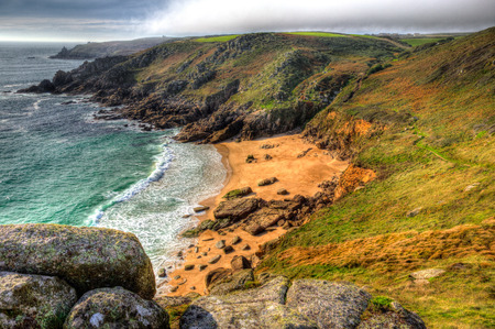 Porthchapel beach Cornwall England UK near the Minack Theatre in HDR autumn Stock Photo