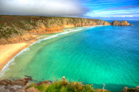 porthcurno: Porthcurno beach Cornwall England UK near the Minack Theatre in colourful HDR