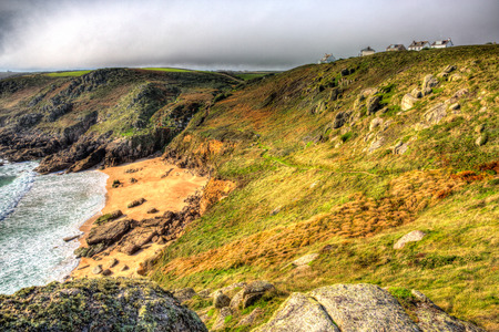 Porthchapel beach Cornwall England UK near the Minack Theatre in HDR photo