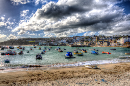 Boats in St Ives harbour Cornwall England in colourful HDR photo