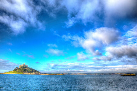 St Michaels Mount Cornwall England UK with clouds in HDR photo