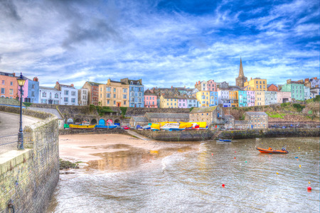 tenby wales: Tenby harbour Pembrokeshire Wales historic Welsh town on west side of Carmarthen Bay with great beaches and history in HDR