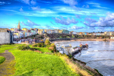 tenby wales: Tenby Wales in HDR Stock Photo