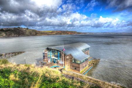 lifeboat station: RNLI Lifeboat station house Tenby coast Pembrokeshire Wales UK in HDR