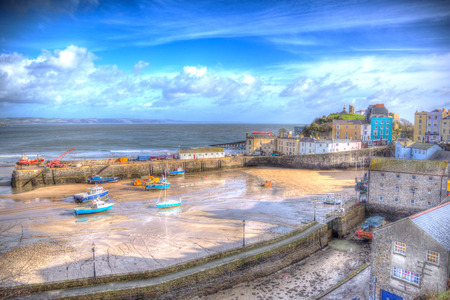 Tenby harbour Pembrokeshire Wales historic Welsh town on west side of Carmarthen Bay with great beaches and history in HDR