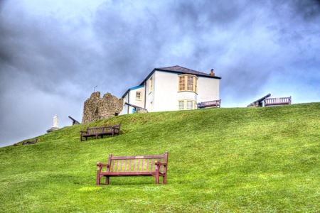 tenby wales: Ruins and cannon on Tenby hill Pembrokeshire Wales UK