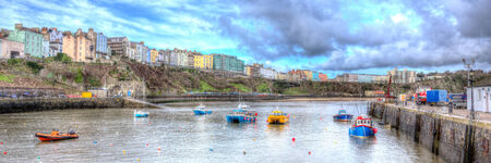 tenby wales: Panorama of Tenby Wales UK Editorial