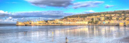 birnbeck: Panorama di Weston-super-Mare lungomare Somerset in HDR Editoriali