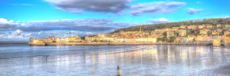 brean beach: Panorama of Weston-super-mare seafront Somerset in HDR