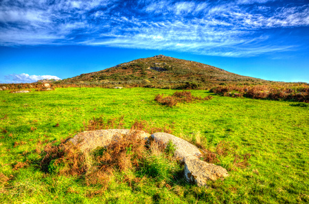 west end: Cornwall countryside Zennor near St Ives England UK with blue sky and clouds in HDR