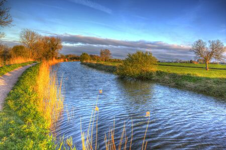 Bridgwater and Taunton Canal Somerset England UK peaceful waterway in the west country in HDR