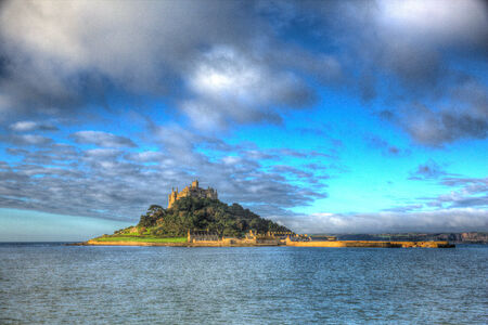 St Michaels Mount Marazion Cornwall England UK medieval castle and church from the island in colourful HDR