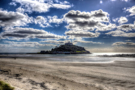 hdri: St Michaels Mount Marazion Cornwall England UK medieval castle and church from the island in colourful HDR with cloudy sky