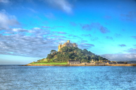 St Michaels Mount Marazion Cornwall England UK medieval castle and church from the island in colourful HDR photo