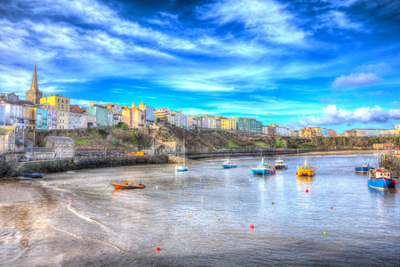 tenby wales: Tenby Wales historic Welsh town in colourful HDR