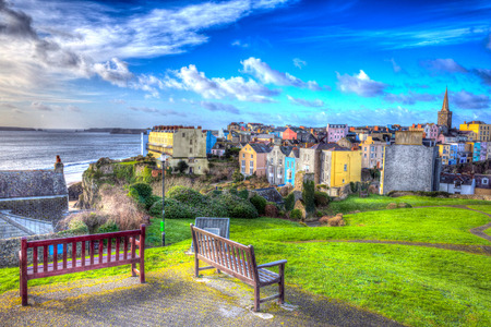 tenby wales:  Tenby town Pembrokeshire Wales historic Welsh town in colourful HDR