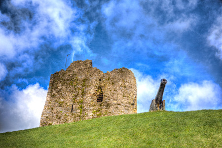 tenby wales: Ruins and cannon on Tenby hill Pembrokeshire Wales UK in HDR