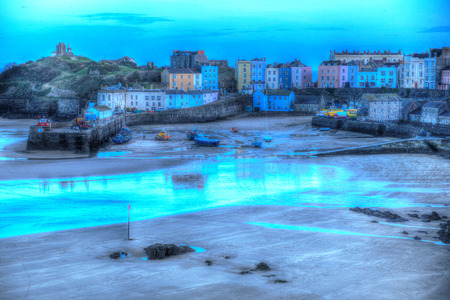 tenby wales: Early evening Tenby Pembrokeshire Wales in HDR Stock Photo