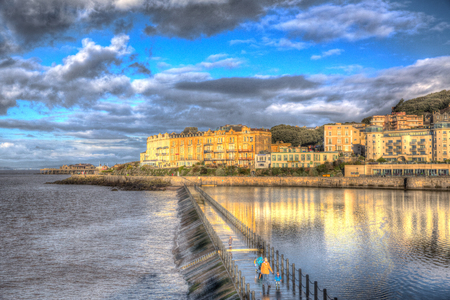 brean: Marine Lake in Weston-super-Mare Somerset England on a sunny morning in colourful HDR