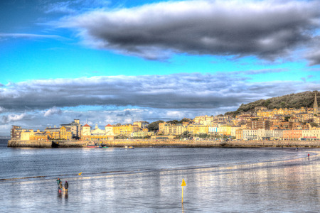 brean: Weston seafront Somerset England UK in colourful HDR